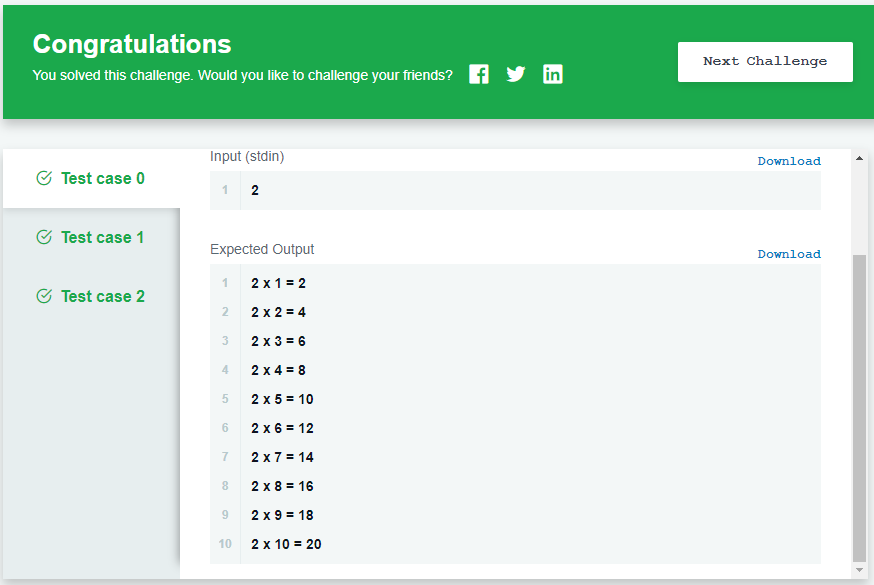 Loops Hackerrank Solution Output